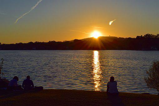 Sunset, Lake, People, Silhouette, Sitting, Water