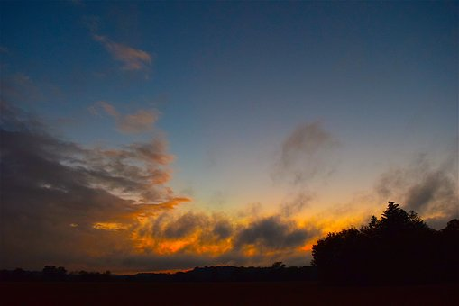 Sunset, Clouds, Horizon, Sky, Nature, Blue, Summer