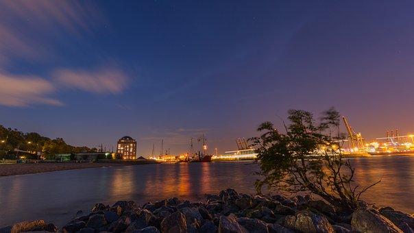Elbe, Evening, Hamburg, Night, River, Sunset, Water