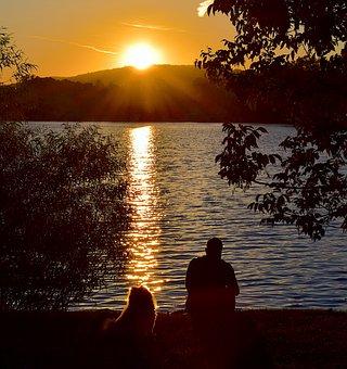 Sunset, Lake, Person, Silhouette, Dog, Sitting, Water