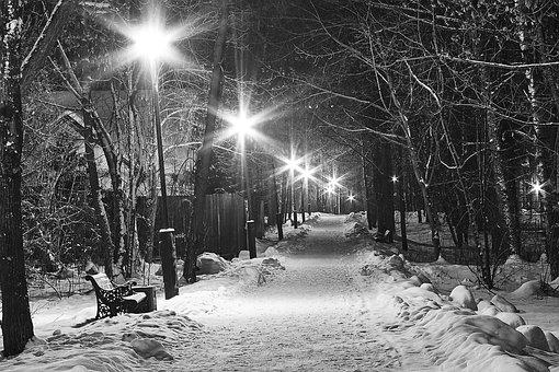 Winter, Street, Night, Onari, Black And White, Snow