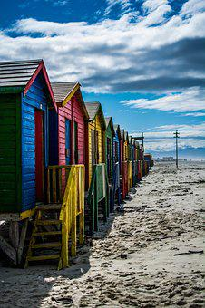 Muizenberg, South Africa, Colorful, Cottage, Bathhouses