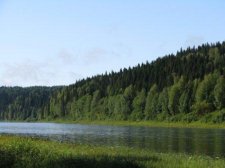 The Vishera River, Blue Sky, Forest, Beach, Nature, Sky