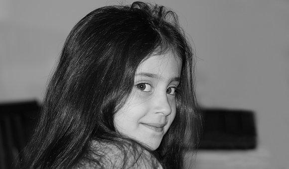 Girl, Face, Kid, Portrait, Little, Black-and-white