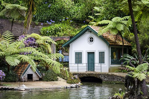 Garden, Cottage, Pond, Vegetation, Bower, Rest, Green