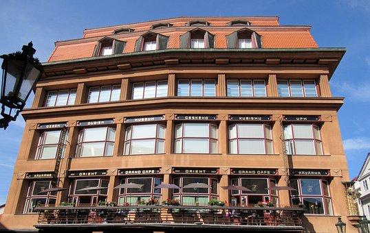 Prague, Cafe, Cubism, Windows