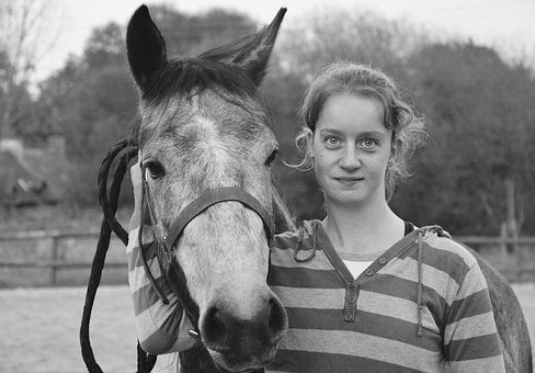 Girl, Young Woman, Horse, Complicity Photo Black White