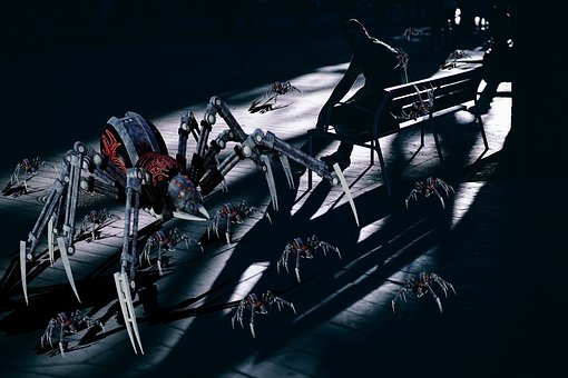 Spiders, Dark, Shadows, Mechanical, Mother, Horror