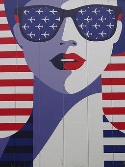 Usa, Woman, Glasses, Aircraft, Flight, America