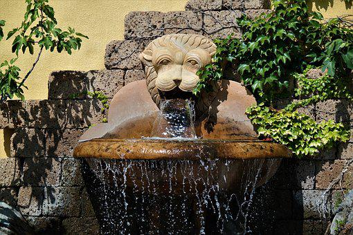 Fountain, Water, Flow, Water Feature, Wet, Lion Head