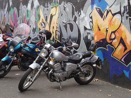 Motor Bikes, Graffiti, Motorcycle, Wheels, Street Art