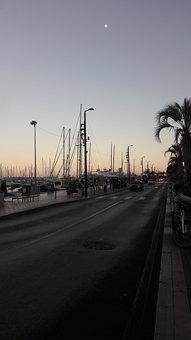 Port, Cannes, Evening, Sky, Palm, Night