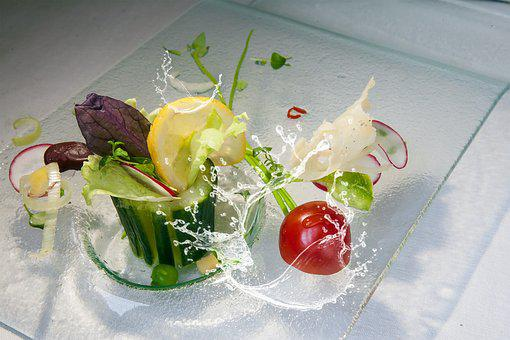 Cucumber, Salad, Tomato, Salad Plate, Water Splashes