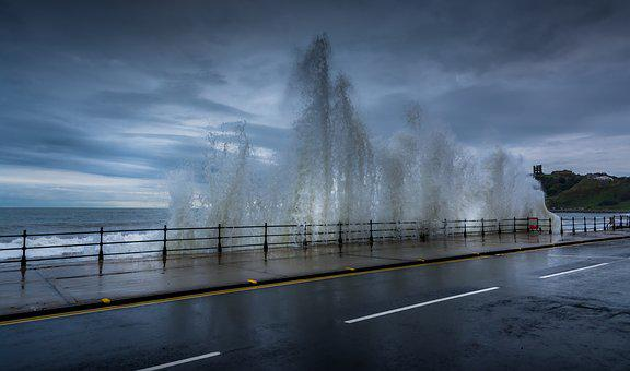 Marine Drive, Scarborough, Seascape, Waves, High Tide