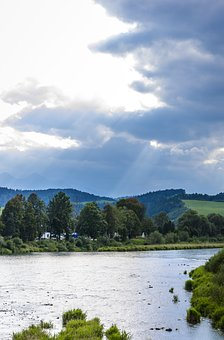 River, Mountains, The Rays, Clouds, Mountain River