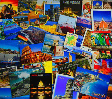 Postcard, Collage, Travel, Tourism, Collection, Photo