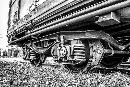 Train, Railway, Wheels, Wagon, Black And White, Hdr