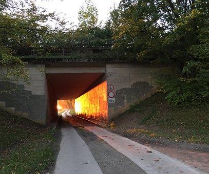 Tunnel, Sun, Sunset, Evening Sky, Afterglow, Light