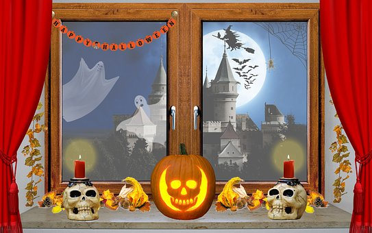 Halloween, Window, Pumpkin, Skull And Crossbones