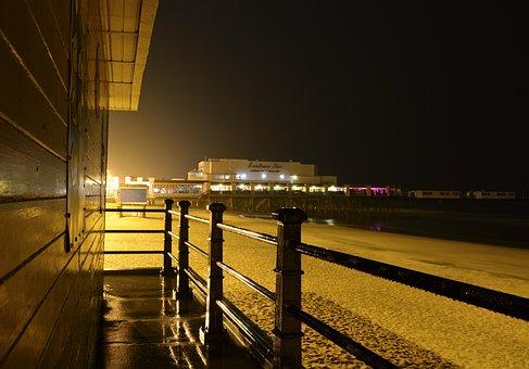 Pier, Beach, Night, Amusement, Entertainment, Railing