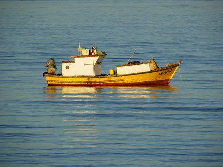 Boat, Landscape, Blue, Fishing Boat, Fishing, Browse