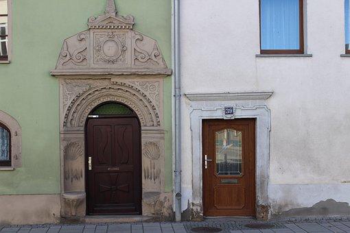 Building, Door, Large, Small, Antagonist, Contrast