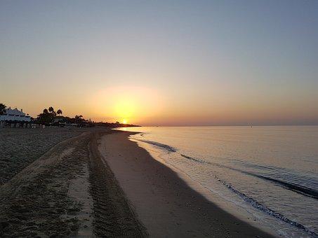 Dawn, Beach, Sea, Sun, Sand, Horizon, Shore, Orange