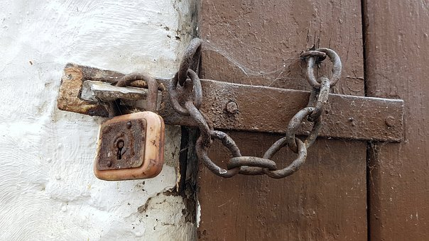 Castle, Chain Lock, U-lock, Door, Goal, Wood Barn