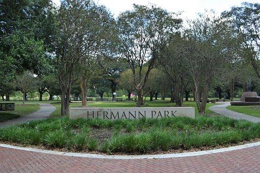 Herman Park, Sign, Entrance, Forrest, National Park