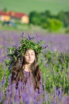 Portrait, Summer, Flowers, Field, Light, Tenderness