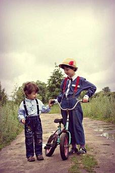 Kids, Bike, Brothers, Friends, Family, Stroll, Summer