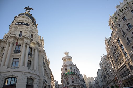 Gran Vía, City, Madrid, Spain, Great Way, Architecture