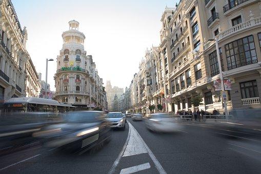 Gran Vía, Traffic, Urban, Madrid, Capital, Cars, City