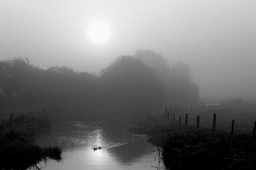 Fog, Haze, Sunrise, Landscape, Autumn, River