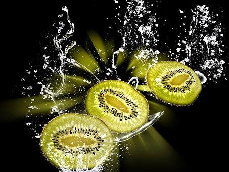 Kiwi, Water Splashes, Water, Fruits, Drop Of Water