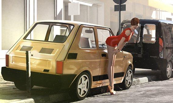 Polish Fiat 126p, 3d Model, Model, Woman, Car