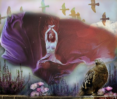 Girl, Beauty, Birds, Living Nature, Beautiful, Nature