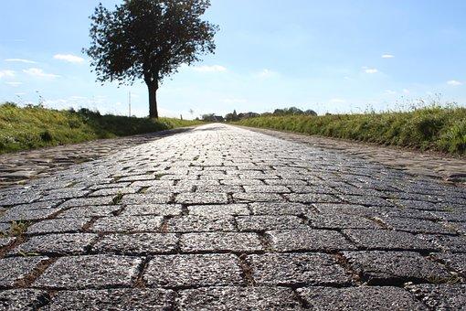 Road, Cobblestones, Tree, Paving Stones, Away, Ground
