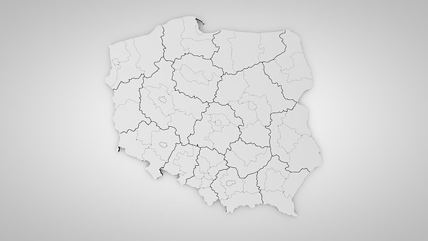 Poland, 3d Model, Province, Districts