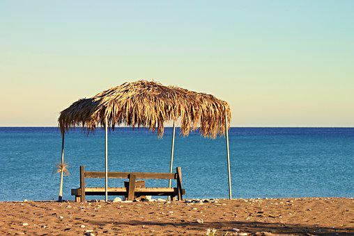 Beach, Sea, Bank, Palm Leaf, Mediterranean, Summer