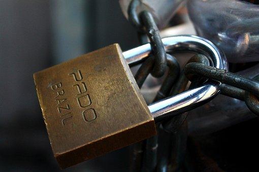 Padlock, Chain, Security, Closed