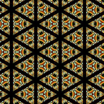 Pattern, Stained Glass, Triangles, Seamless