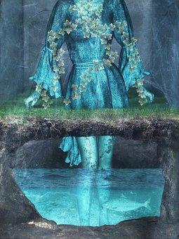 Woman, Clothing, Cave, Water, Fish, Surreal, Fantasy