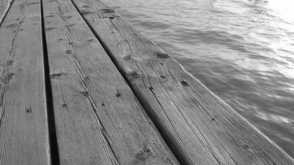 Wooden Pier, Wooden Seating, Texture, Wood, Water