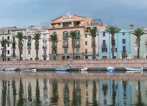 Sardinia, Water, Homes, Palm Trees, Blue, Boats, Sky