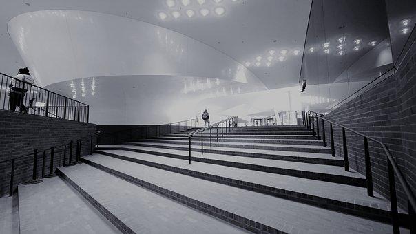 Elbe Philharmonic Hall, Hamburg, Black White, Building