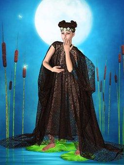 Woman, Art Nouveau, Cape, Pond, Cattail, Water, Moon