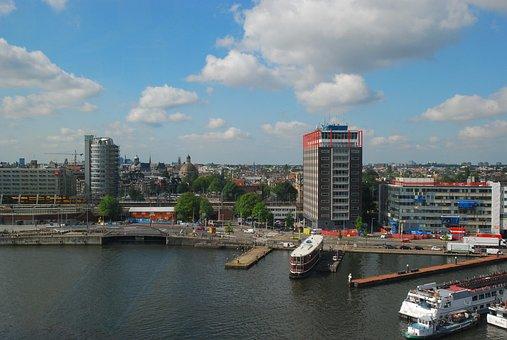 City, Port, Architecture, Skyline, Ship, Channel