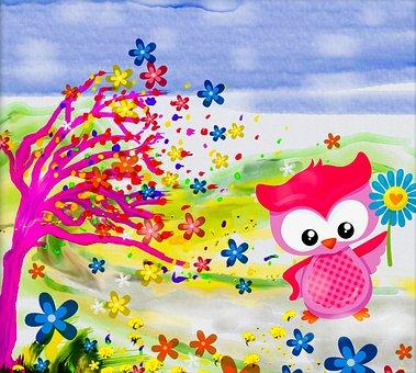Windy Day, Fantasy Art, Children's Wall Art