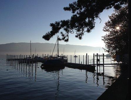 Water, Autumn Mood, Fog, Port
